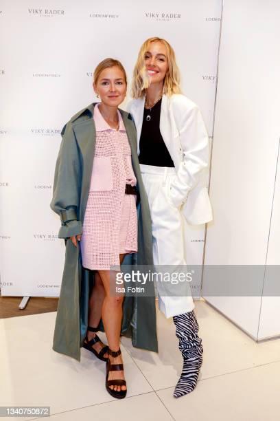 Influencer Anna Borisovna and influencer Viktoria Rader attend the Viky Rader x LODENFREY launch event at Lodenfrey on September 16, 2021 in Munich,...