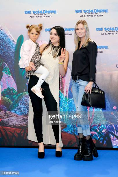 Influencer Anne Wuensche with her daughter Miley Wuensche and Marianne Herbig attend the 'Die Schluempfe Das verlorene Dorf' premiere at Sony Centre...