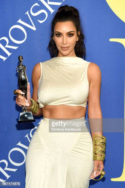 Influencer Award winner Kim Kardashian West attends the 2018 CFDA Fashion Awards Winners Walk at Brooklyn Museum on June 4 2018 in New York City