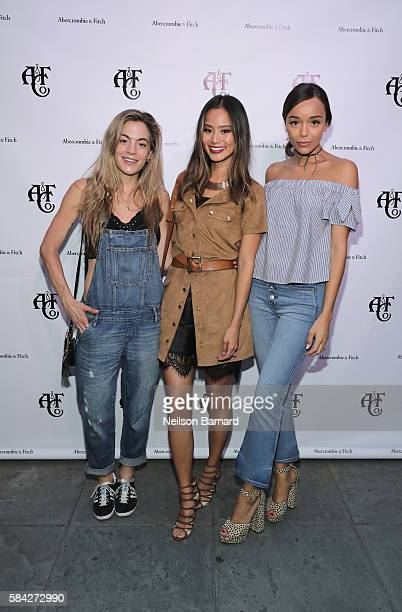 DJ Influencer Chelsea Leyland Model actress Jamie Chung and actress Ashley Madekwe attend Abercrombie Fitch Summer Rooftop Party at Gallow Green...