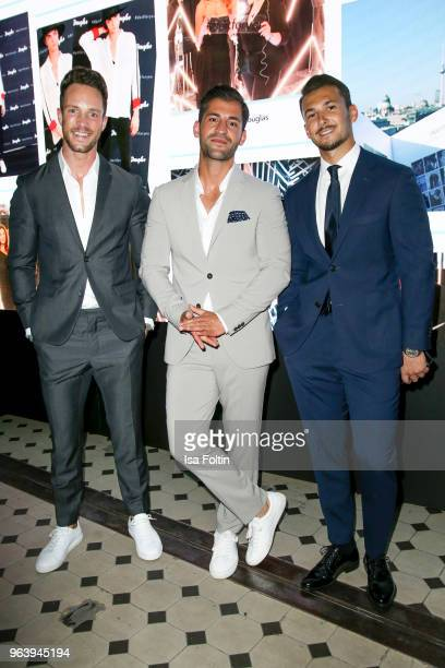 Influencer Daniel Fuchs Kosta Williams and Sandro Rasa during the Douglas X Peter Lindbergh campaign launch at ewerk on May 30 2018 in Berlin Germany