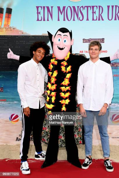 Influencer Dillan and Joey attend the 'Hotel Transsilvanien 3' premiere at CineStar on July 8 2018 in Berlin Germany