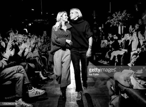 Influencer Gitta Banko and Boscana designer Solveig Olek walk the runway at the Boscana X Gitta Banko fashion show during Berlin Fashion Week...