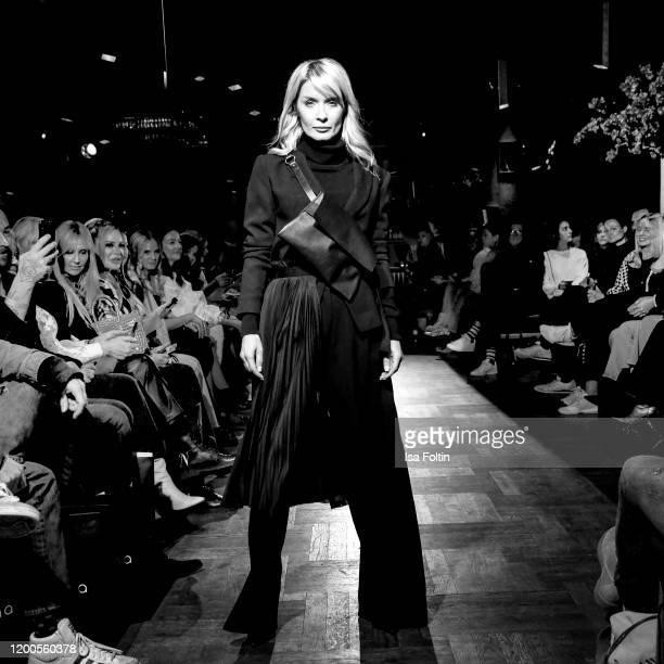 Influencer Gitta Banko walks the runway at the Boscana X Gitta Banko fashion show during Berlin Fashion Week Autumn/Winter 2020 on January 13 2020 in...