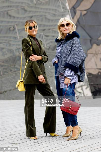 Influencer Gitta Banko, wearing a green suit and a black turtleneck pullover as full look by Saint Laurent, a yellow bag by Saint Laurent and...