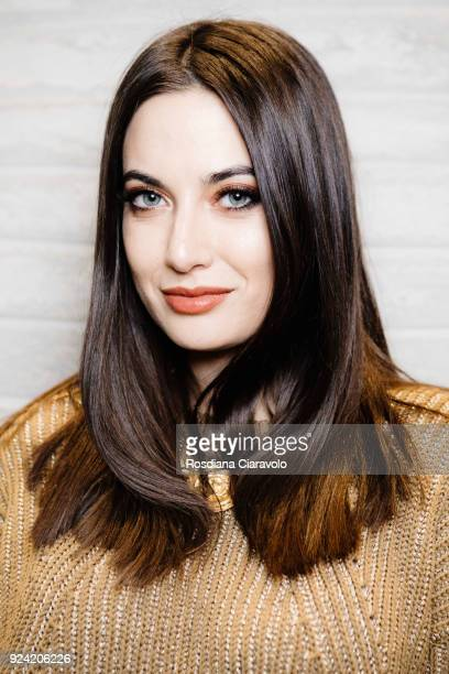 Influencer Giulia Valentina is seen backstage ahead of the Les Copains show during Milan Fashion Week Fall/Winter 2018/19 on February 22 2018 in...