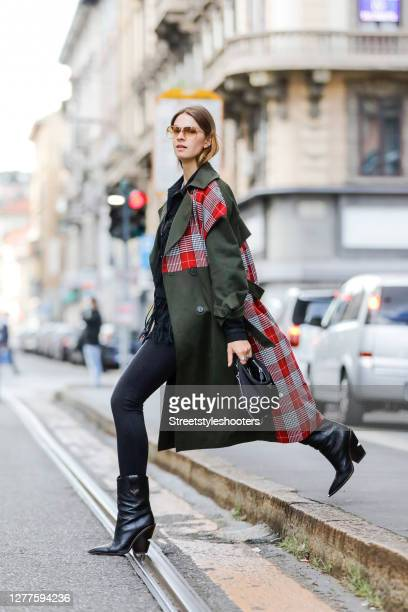 Influencer Jacqueline Zelwis, wearing a green coat with red checked pattern on the back side and chest by Gaelle Paris, a black jacket with fringes...
