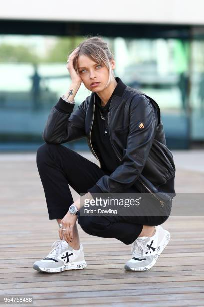Influencer Josephine Kinsey attends the Noah Becker X Premiata event wearing a Moose Knuckles leather jacket and Premiata trainers at Bikini Berlin...