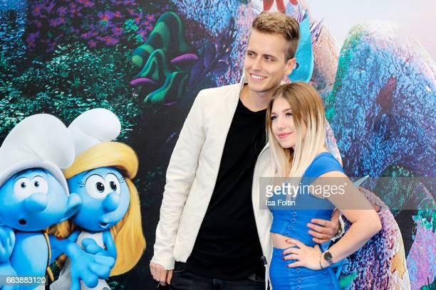 Influencer Julian Classen and influencer and youtubestar Bianca Heinicke alias Bibi during the 'Die Schluempfe Das verlorene Dorf' premiere at Sony...