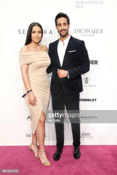 Influencer Lamiya Slimani and her borother influencer Sami Slimani during the Duftstars at Flughafen Tempelhof on April 25, 2018 in Berlin, Germany.