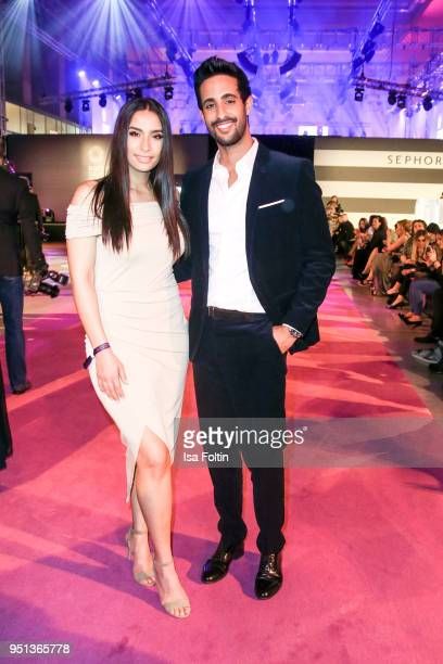 Influencer Lamiya Slimani and her brother influencer Sami Slimani during the after show party of Duftstars at Flughafen Tempelhof on April 25, 2018...