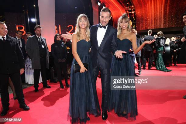 Influencer Lisa and Lena and Kai Pflaume during the Bambi Awards 2018 Arrivals at Stage Theater on November 16 2018 in Berlin Germany