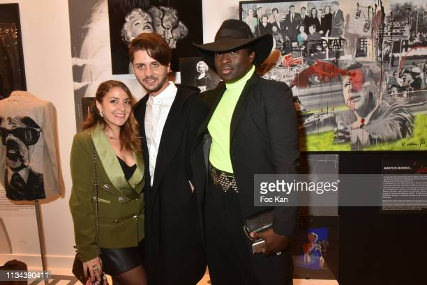 Influencer Mademoiselle Valerie actor Mike Desa and PR Antoine Schmidt attend Maurice Renoma Tribute to Street Art Preview at Espace Bernard Palissy...