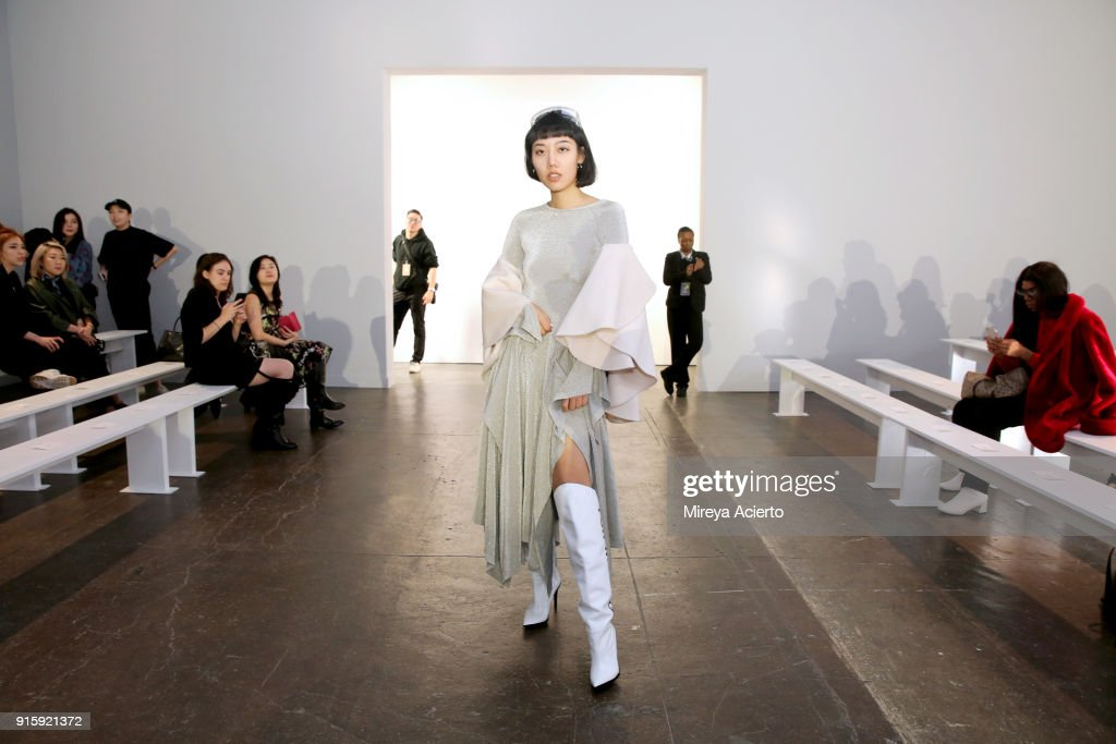 Influencer Michelle Song attends the Lanyu front row during New York Fashion Week: The Shows at Industria Studios on February 8, 2018 in New York City.