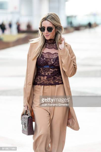 Influencer Monica Sors wears Zara shoes Monica Cordera suit Andres Sarda blouse Roberto Verino handbag and Mango sunglasses during Mercedes Benz...