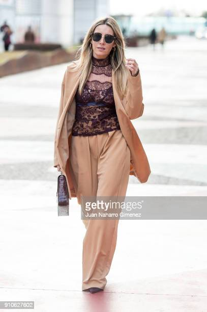 Influencer Monica Sors wears Zara shoes Monica Cordera suit Andres Sarda blouse Roberto Verino handbag and Mango sunglasses during Mercedes Benz...