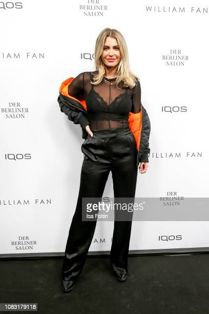 Influencer Mrs Bella arrives at the William Fan Defile during 'Der Berliner Salon' Autumn/Winter 2019 at Knutschfleck on January 15 2019 in Berlin...