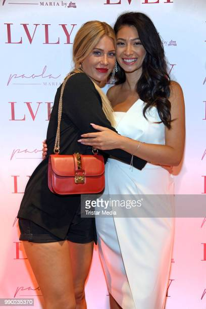 Influencer Paola Maria and Mrs Bella attend the 'Lvly' care series launch by Paola Maria and DM Drugstore at Invalidenstrasse on July 2 2018 in...