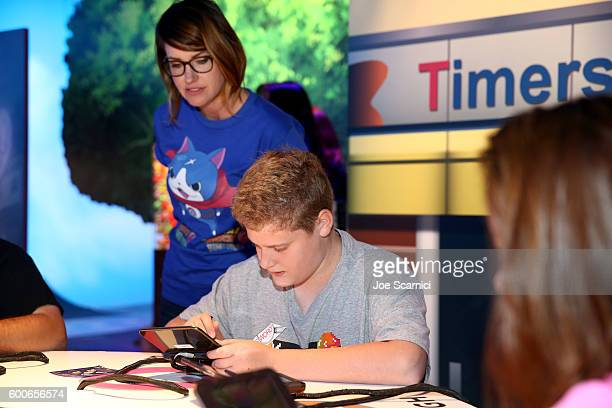 Influencer Parker of Piper's Picks TV check out YoKai Watch 2 for Ninendo 3DS at the YOKAI WATCH 2 preview event at Siren Studios on September 8 2016...