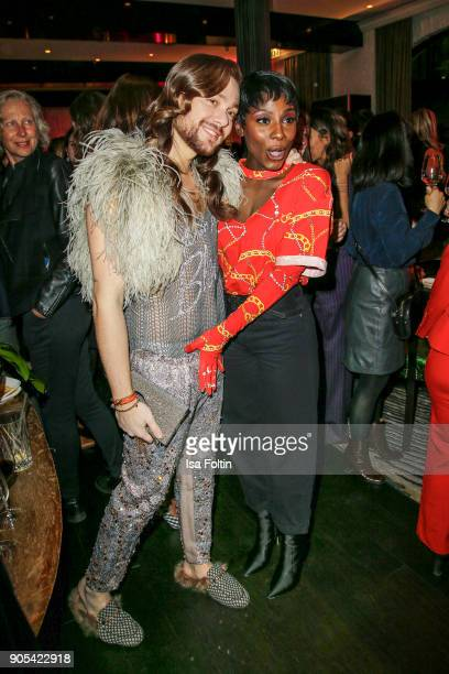 Influencer Riccardo Simonetti and Dancer Nikeata Thompson during the Bunte New Faces Night at Grace Hotel Zoo on January 15 2018 in Berlin Germany