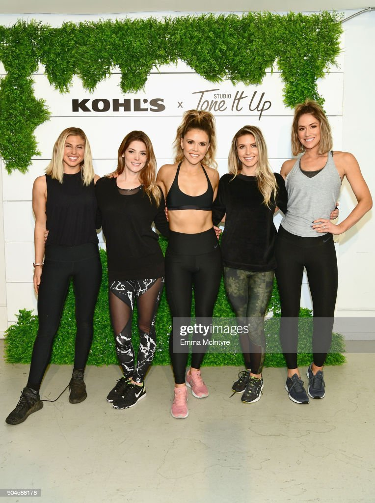 Influencer Sage Erickson, actor Ashley Greene, Katrina Scott, TV personality Audrina Patridge, and Karena Dawn attend Kohl's x Studio Tone It Up at Barker Hangar on January 13, 2018 in Santa Monica, California.