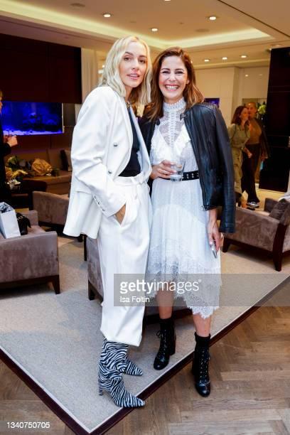 Influencer Viktoria Rader and TV host Funda Vanroy attend the Viky Rader x LODENFREY launch event at Lodenfrey on September 16, 2021 in Munich,...