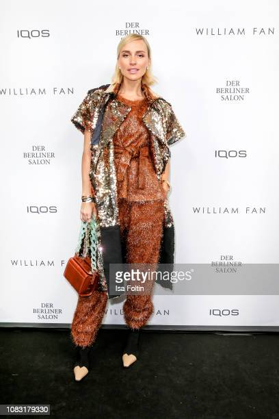 Influencer Viktoria Rader arrives at the William Fan Defile during 'Der Berliner Salon' Autumn/Winter 2019 at Knutschfleck on January 15 2019 in...