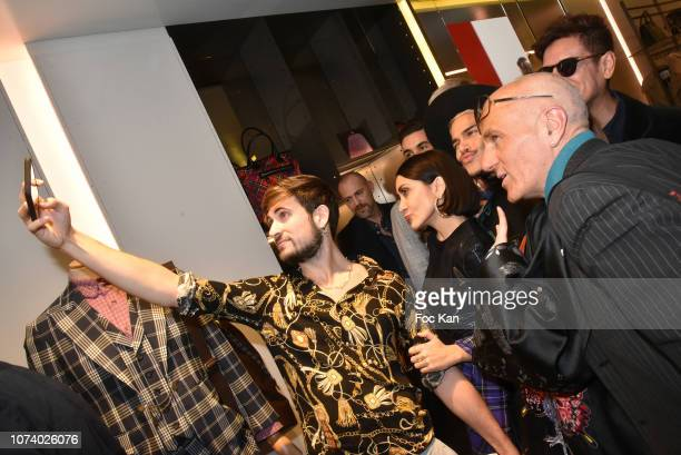 Influencer Yanis Bargoin, influencer Ayla Rasulov Thierry Ker and guests pose for a selfie during Blake Magazine 10th Anniversary at Vivienne...
