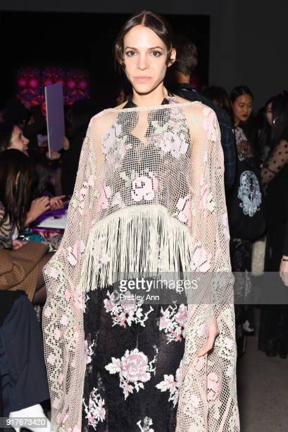 Influencers attends Anna Sui Front Row February 2018 New York Fashion Week at Spring Studios on February 12 2018 in New York City