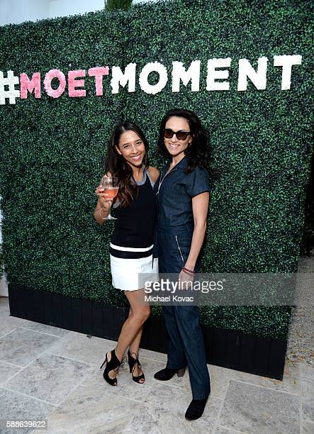 Influencers Bianca Lopez and Ivy Agregan celebrate the Los Angeles launch of Moet Ice Imperial Rose at the Riviera White House on August 11 2016 in...