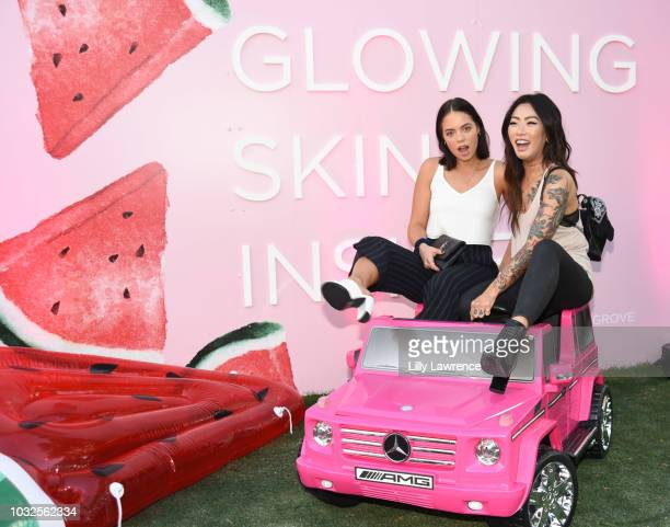 Influencers Claudia Sulewski and Claire Marshall attend Glow Recipe presents Watermelon Night Market at The Grove at Glow Studio Grove on September...