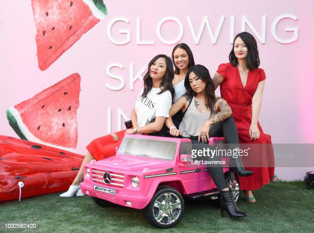 Influencers Claudia Sulewski and Claire Marshall pose with Co Founders of Glow Recipe Sarah Lee Christine Chang attend Glow Recipe presents...