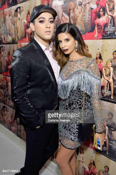 Influencers Manny Gutierrez and Laura Lee attend Vanity Fair and Lancome Toast to The Hollywood Issue at Chateau Marmont on February 23 2017 in Los...