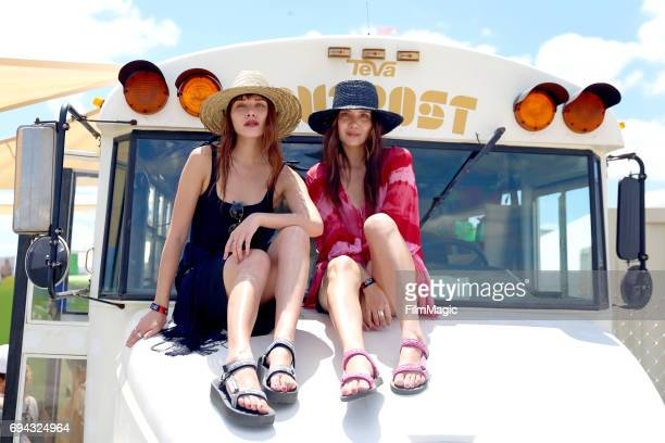 Influencers Natalie Suarez and Dylana Suarez stop by Teva Outpost Bus at Bonnaroo Music and Arts Festival on Friday June 9 on June 9 2017 in...
