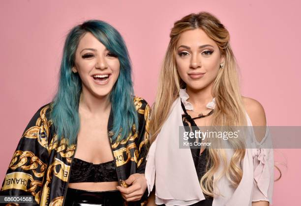Influencers Niki DeMartino and Gabi DeMartino attend Beautycon Festival NYC 2017 Portraits at Brooklyn Cruise Terminal on May 20 2017 in New York City