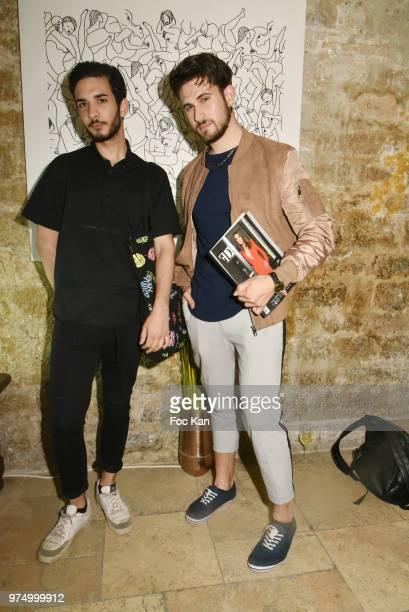 Influencers Oscar Gordillo and Yanis Bargoin attend the Archiman Men Body Care Launch Party at 22 Rue de L'Universite on June 14 2018 in Paris France