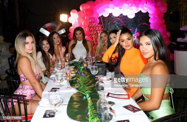 Influencers toast with Andrea Gavira during the OMG Swimwear Influencer Dinner on July 15, 2019 in Miami, Florida.