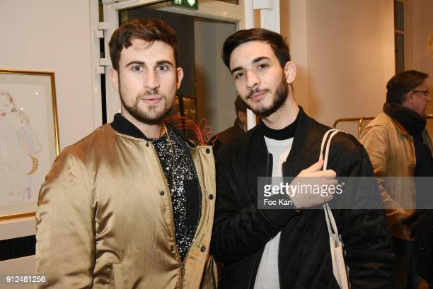 Influencers Yanis Bargoin and Oscar Gordillo attend Antik Batik Party at Antik Batik Shop Rue des Minimes on January 30, 2018 in Paris, France.