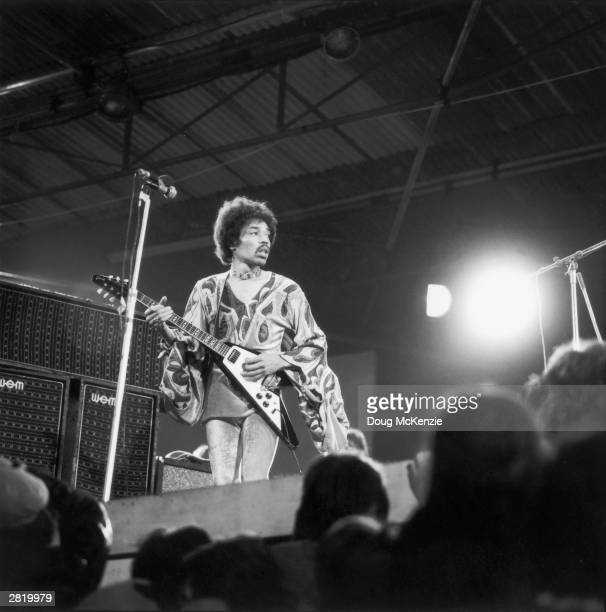 Influential rock guitarist Jimi Hendrix in action at the Isle of Wight festival August 1970