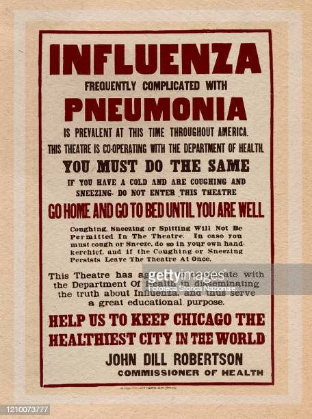 Influenza frequently complicated with pneumonia is prevalent at this time throughout America Propaganda information poster with precautions to be...