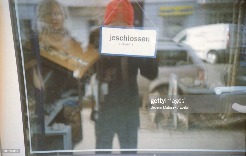 Info On Shop And Street Reflecting : Foto stock
