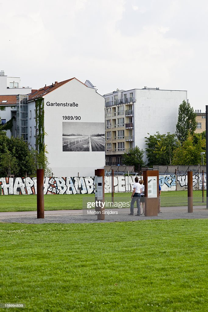 Info poles at Berlin Wall Memorial Site : Stock Photo
