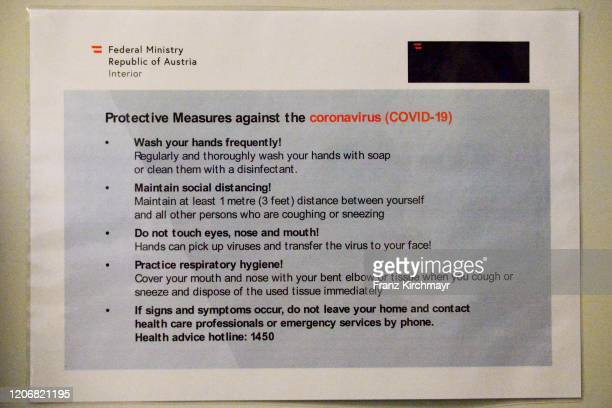 Info sheet for the coronavirus at the Group D UEFA Europa League match between LASK and Manchester United at Stadion der Stadt Linz on March 12 2020...