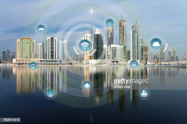 'Infographic against city background, Dubai'