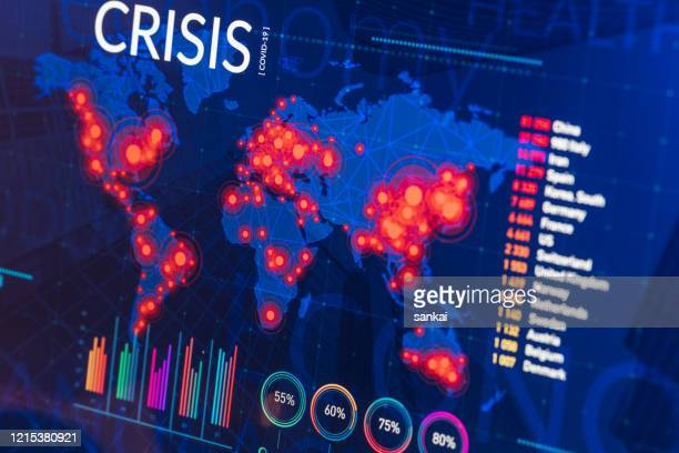 infographic of global finance and healthcare crisis on digital display - crisis stock pictures, royalty-free photos & images