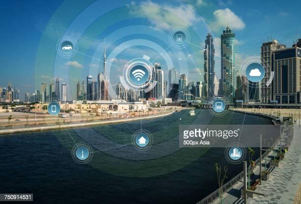 'Infographic on city next to river background, Dubai'