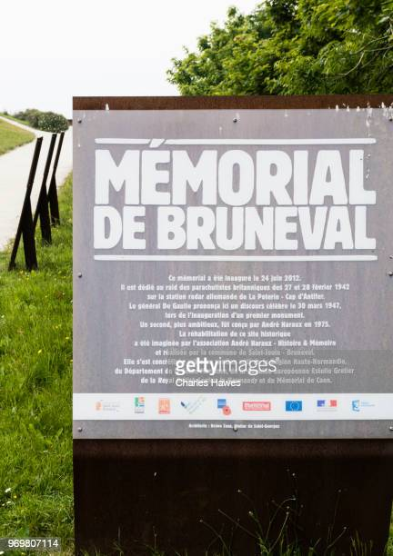 Inforamtion sign.The Bruneval coast and  memorial, Normandy, France. May