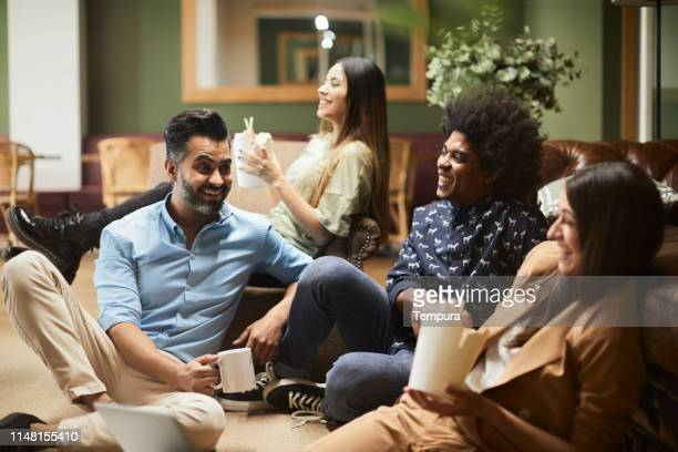 informal business meeting in a hotel. - country club stock pictures, royalty-free photos & images