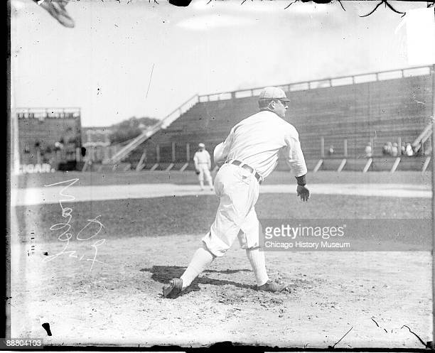 Informal fulllength portrait of baseball player Ed Walsh of the American League's Chicago White Sox baseball team following through after throwing a...