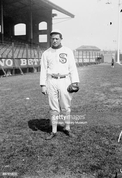 Informal fulllength portrait of baseball player Ed Walsh of the American League's Chicago White Sox standing on the field at Comiskey Park Chicago...